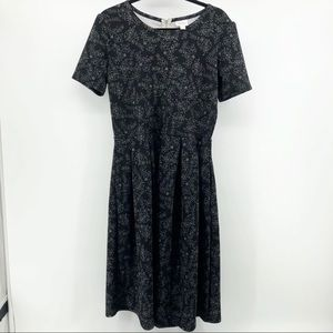LuLaRoe Black White Print Marly Midi Dress